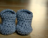 Instant PDF File 2 Crochet Unisex Bootie Patterns In One (0-3 MOS Size)