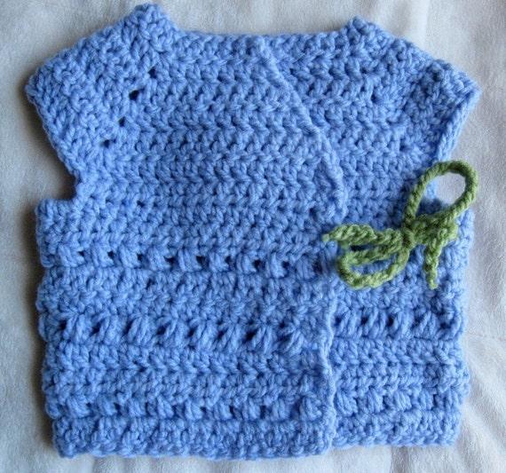 Instant PDF File For Crochet Kimono Style Wrap Sweater Vest Pattern (3-6 MOS) by Adirondack Patterns