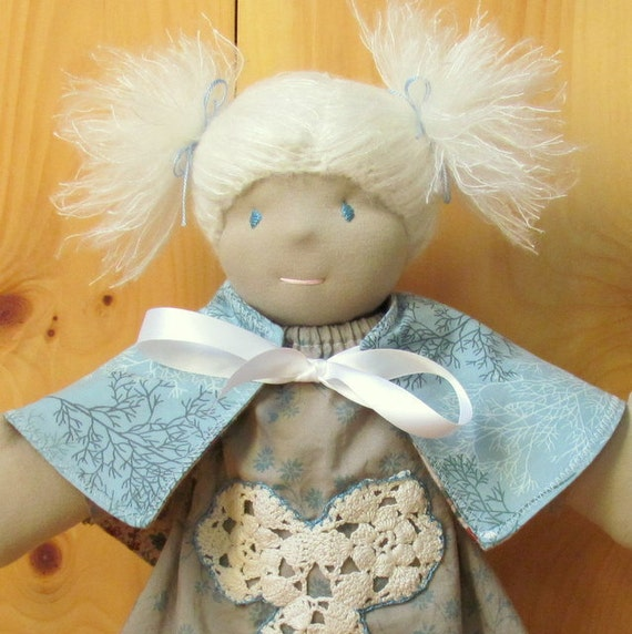Instant PDF download Waldorf doll sewing pattern and tutorial for reversible cape capelet shawl
