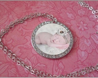 """Mini Photo Pendant with CZ accent """"Twinkle"""""""