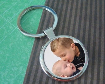 Personalized Dad - Custom Photo Key Chain - Circle - Fathers Gift