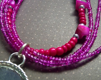 Photo Pendant Fuchsia Delight Necklace Beaded