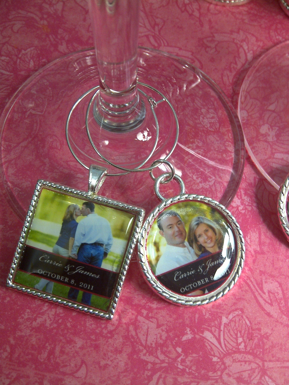wedding favors personalized custom wine glass charms by