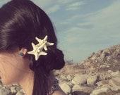 Double Starfish Barrette Mermaid Hair Clip Bride Bridal Bridesmaid Ariel Nautical Destination Beach Wedding Accessories Womens Gift For Her