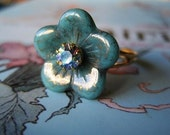 The Flower Fairy Ring - Vintage Ice Blue Aurora Borealis Swarovski Crystal - Romantic - Whimsical - Dreamy - Jardin des Belles Collection