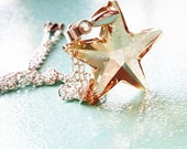 Fly Me to Polaris - Golden Shadow Swarovski Crystal Star - Romantic Whimsical Dreamy Silver Plated Necklace - Wishes and Dreams Collection