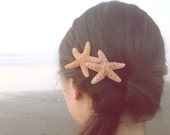 Double Starfish Barrette Mermaid Hair Clip Ariel Costume Bride Bridal Bridesmaid Destination Beach Wedding Accessories Womens Gift For Her