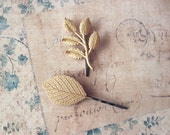 Gold Leaf Branch Bobby Pin Bridal Hair Clip Bridesmaid Nature Botanical Garden Rustic Woodland Wedding Accessories Vintage Style Womens Gift