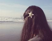 White Starfish Barrette Mermaid Hair Clip Nautical Girls Bride Bridal Bridesmaid Ariel Costume Beach Wedding Accessories Womens Gift For Her
