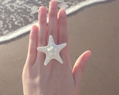 White Starfish Ring Mermaid Jewelry Nautical Ariel Accessories Bride Bridal Bridesmaids Beach Weddings Girlfriend Womens Gift For Her