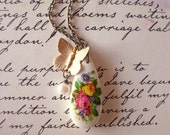 50% OFF SALE Butterfly Charm Necklace Rose Jewelry Flower Floral Pendant Jane Austen Garden Vintage Inspired Victorian Style Womens Gift