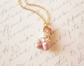 LAST ONE - Ballerina II - Dance Slippers Charm Necklace - Pink White - Cute - Adorable Romantic Elegant Whimsical Dreamy - Degas Collection