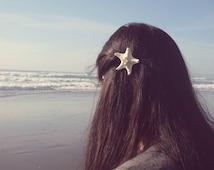 BOGO Sale White Starfish Barrette Mermaid Hair Clip Nautical Bride Bridal Bridesmaid Ariel Beach Wedding Accessories Womens Gift For Her