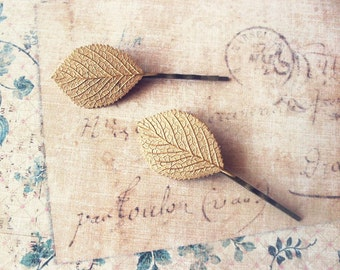 Gold Leaf Bobby Pins Bridal Hair Clip Bride Bridesmaid Nature Garden Botanical Rustic Woodland Wedding Accessories Womens Gift Vintage Style