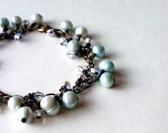 Pearl Cluster Bracelet Mint Green Jewelry Crystal Charm Seafoam Sea Foam Mermaid Bride Bridal Beach Wedding Accessories Womens Gift For Her