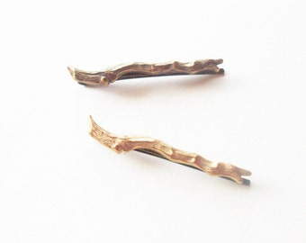 Branch Bobby Pin Bridal Hair Clip Bride Bridesmaid Gold Brown Rustic Woodland Wedding Accessories Style Womens Gift For Her Autumn Fall