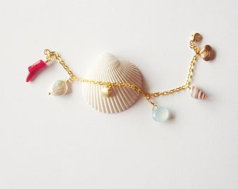Mermaid Bracelet Ariel Charm Jewelry Seashell Sea Shell Coral Accessories Nautical Bridal Bridesmaid Beach Weddings Wife Womens Gift Summer