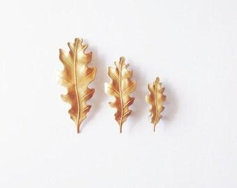 Oak Leaf Barrettes Gold Bridal Hair Clip Botanical Nature Garden Bridesmaid Rustic Woodland Wedding Accessories Vintage Style Womens Gift