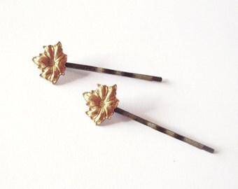 Gold Flower Bobby Pins Flower Hair Pins Bridal Hair Pins Bridal Bobby Pins Bridal Hair Clips Woodland Wedding Bridal Hair Accessories Autumn