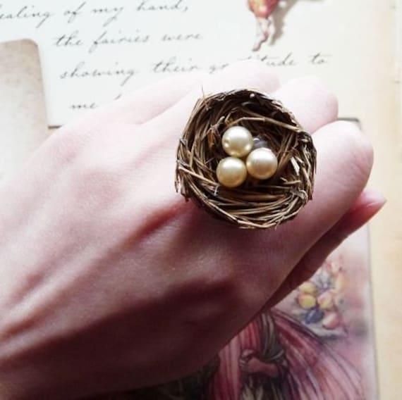 LAST ONE Bird Nest Ring Pearl Egg Nest Ring Bird Ring Woodland Ring Forest Ring Nature Ring Bird Nest Jewelry Nest Egg Jewelry Spring