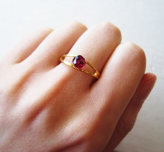 Sweet Dainty Berry - Fuchsia Vintage Swarovski Crystal Disco Ball - Sparkly Glittery Romantic Whimsical Dreamy Adjustable Gold Plated Ring