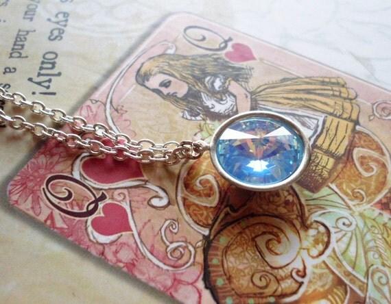 LAST ONE - Rare Blue Swarovski Crystal Sterling Silver Necklace Blue Crystal Jewelry Blue Crystal Bridal Necklace Something Blue Necklace