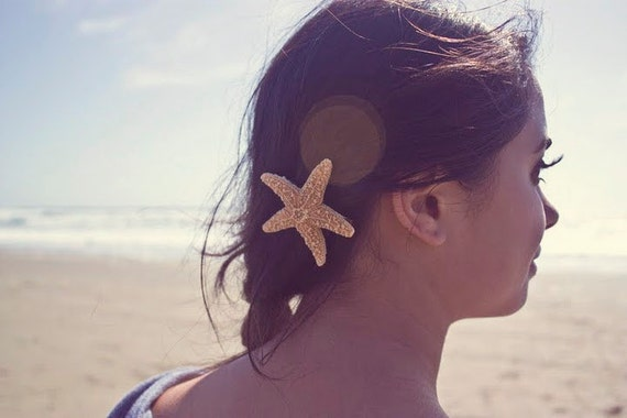 SALE Starfish Barrette Mermaid Hair Clip Nautical Bride Bridal Bridesmaid Ariel Costume Summer Beach Wedding Accessories Womens Gift For Her