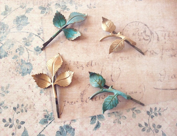 Bridal Hair Accessories Leaf Branch Bobby Pins Clips Bridesmaid Headpiece Head Piece Hairpiece Rustic Woodland Wedding Womens Gift Spring
