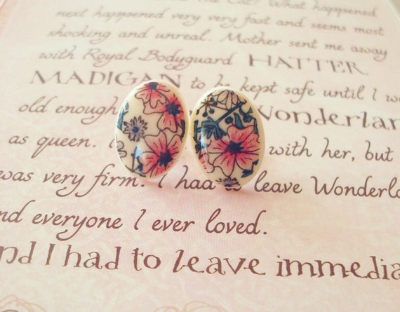 50% OFF SALE - Flowers from Pemberley II - Floral Stud Earrings - Pink Purple Green - Cute Adorable Elegant - Romantic - Whimsical - Dreamy