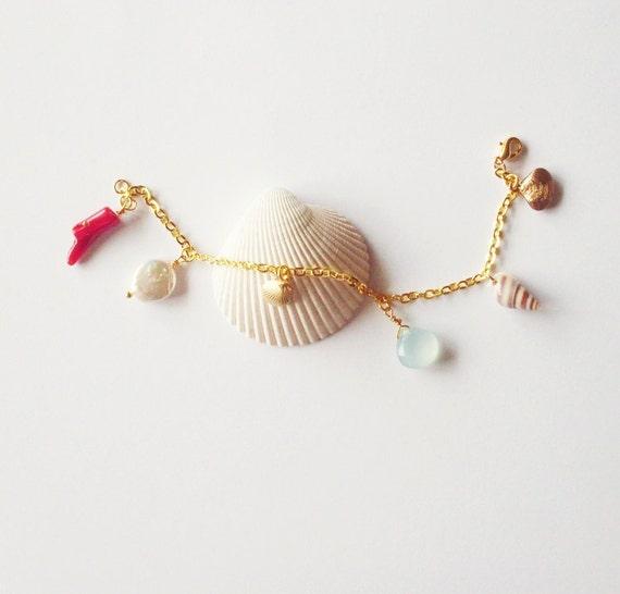 Mermaid Bracelet Ariel Charm Jewelry Seashell Sea Shell Coral Accessories Nautical Bridal Bridesmaid Beach Weddings Wife Womens Gift Summer