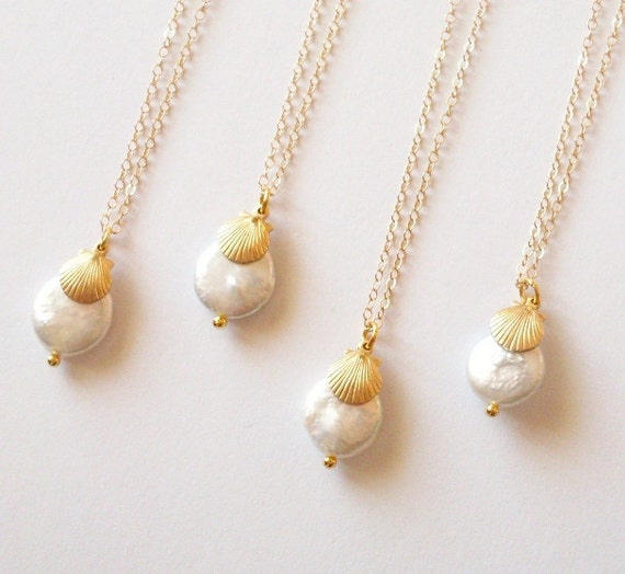 Beach Wedding Necklaces Bridesmaids Jewelry Bridal Party Gifts Coin Pearl Gold Sea Shell Charm Seashell Pendant Nautical Accessories Summer