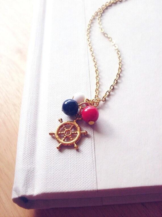 LAST ONE Nautical Charm Necklace Nautical Necklace Gold Ship Wheel Charm Necklace Gold Ship Wheel Necklace Ship Wheel Necklace Cute Adorable