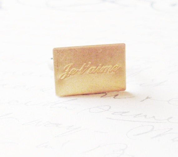 Little French Ring No. 2 - Je t'aime I Love You - Love Ring Gold Cute Adorable Minimal Elegant Chic Romantic Whimsical Dreamy Valentines Day