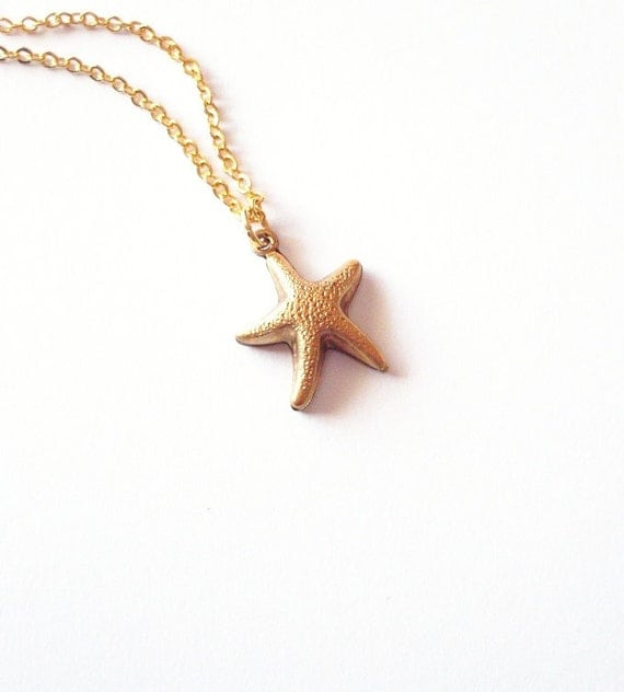 Gold Starfish Necklace Mermaid Jewelry Ariel Pendant Nautical Charm Bridal Bridesmaid Beach Wedding Accessories Womens Gift For Her Summer