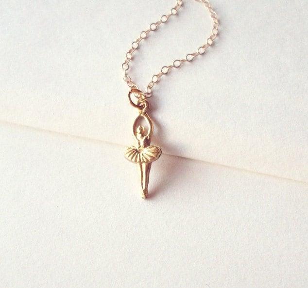 Ballet Charm Bracelet: Gold Ballet Necklace Ballerina Jewelry Dancer Charm Pendant