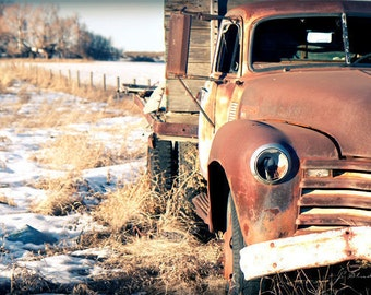 weathered truck photo, vintage jalopy, fine art photography print, rusty, snow covered, winter wonderland