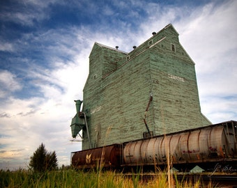 last stop in camrose, grain elevator photography, fine art, weathered, hopper cars, alberta wheat pool, canadian prairies