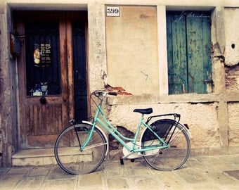 aquamarine bicycle, bike photograph, fine art, travel photography, pastel bike against weathered house, vllage in italy