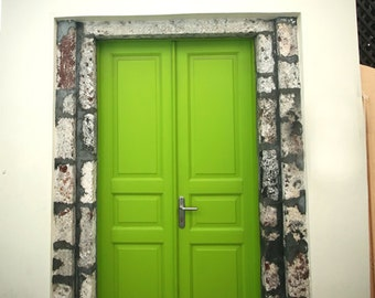splash of lime, door photography, greece art print, pastel lime green door in santorini