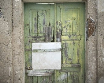 door photograph, ramshackle in green, fine art photography print, moss green, weathered wood, rustic decor, greece art