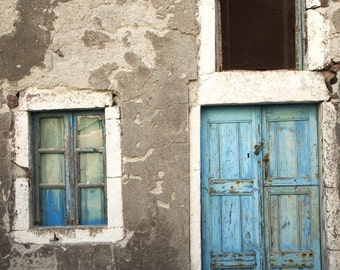 greek charm, door photograph, greece art print, pastel blue, rustic, weathered wooden door, santorini photography