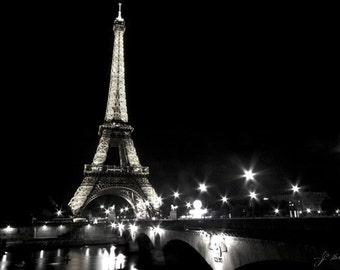 eiffel tower photograph, black and white photography, paris art print, twinkling street lights, romantic bridge in france