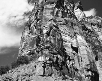 zion national park photograph, black and white photography, art print, monochromatic, sandstone rock cliff, utah art
