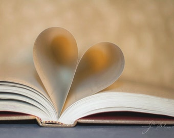 book of love, fine art photography print, read, paper heart, for the reader, book worm