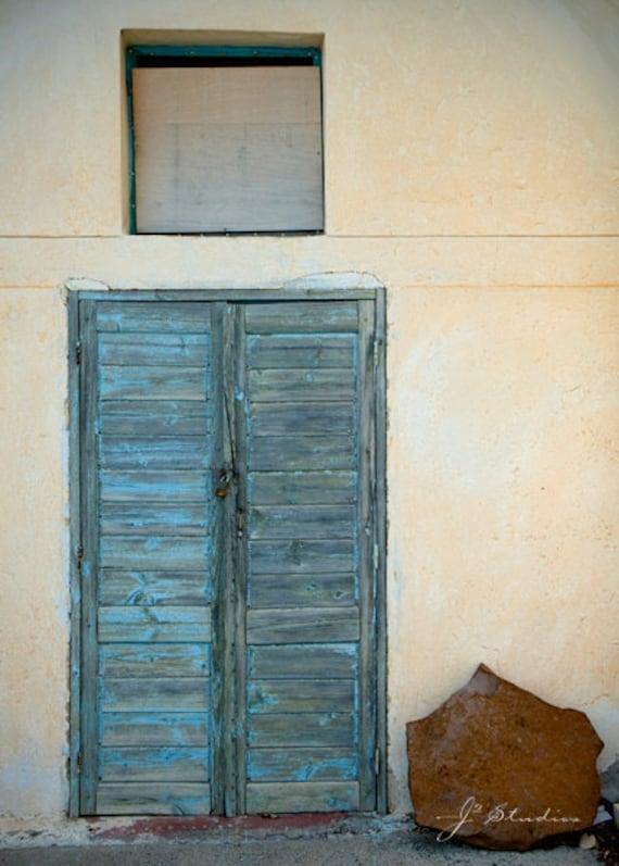 rustic blue, door art print, fine art photography, light pastel blue shutter, closed doors, weathered, santorini photography