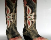 Vintage Leather Womens Cowboy Boots Size 7 1/2