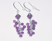 Amethyst Swarovski Crystals with Purple Jade Gemstones