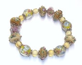 Yellow, Brown, & Pink Floral Lampwork Stretch Bracelet