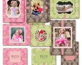 Photoshop Templates For Photographers Damask & Polka Dots Photo Cards - Cutie Happy Days - No 374