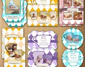 Photoshop Templates For Photographers Birth Announcement Luxe Photo Card - Tea Cup Babies - No 465